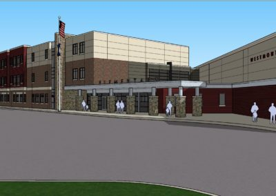 Westmont Hilltop - Elementary ~ Exterior, Visitors Side Entrance 1 Rendering (VM)
